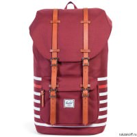 Рюкзак HERSCHEL LITTLE AMERICA WINDSOR WINE OFFSET STRIPE/VEGGIE TAN LEATHER