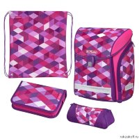 Ранец Herlitz MIDI NEW PLUS Pink Cubes с наполнением
