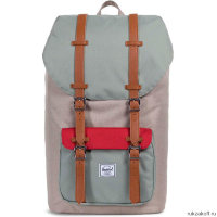 Рюкзак Herschel Little America Light Khaki Crosshatch/Shadow/Brick Red/Tan Synthe
